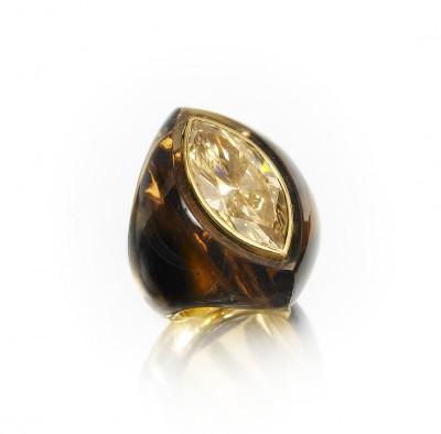 BELPERRON Suzanne-quartz fumé-diamant-bague