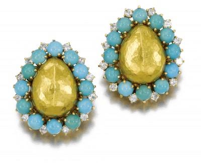 BELPERRON Suzanne-turquoises-diamants-or-boucles d'oreilles