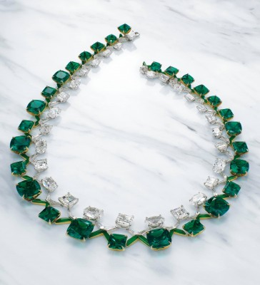 BOGHOSSIAN EMERALD AND DIAMOND DOUBLE RIVIÈRE-emeralds-signed Boghossian-designed by Edmond Chin-sold $ 7,030,800-[Christie's - Hong Kong Magnificent Jewels - Hong Kong - 29 November 2020]