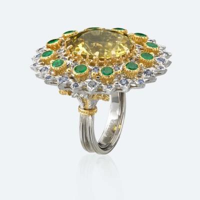 BUCCELLATI-Tourmaline jaune-Emeraude-Diamants