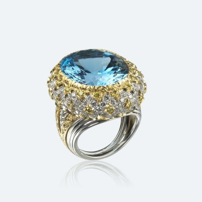 BUCCELLATI-aigue marine-diamants
