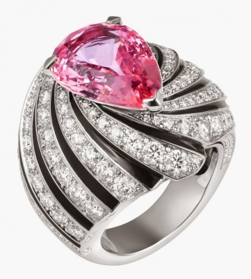 CARTIER-Bague Solar-saphir-laque noire-diamants-saphir Padparadscha