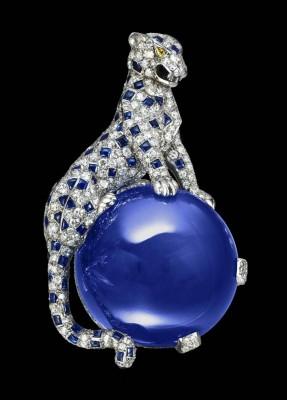 CARTIER-Broche Panthère-diamants jaunes-Saphir du Kashmir-152.35ct- saphirs-diamants