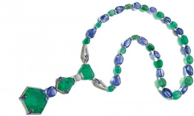 CARTIER 1925 collier émeraudes saphirs diamants