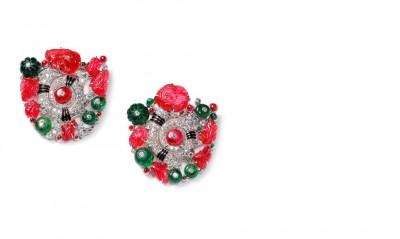 CARTIER-1929- boucles d'oreilles émeraudes rubis diamants