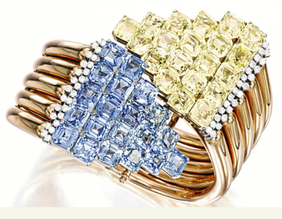 CARTIER-1957-blue-yellow sappires bracelet-saphirs-saphirs jaunes-diamants
