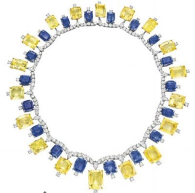 CARTIER-1957-blue-yellow sappires necklace-saphirs-saphirs jaunes-diamants