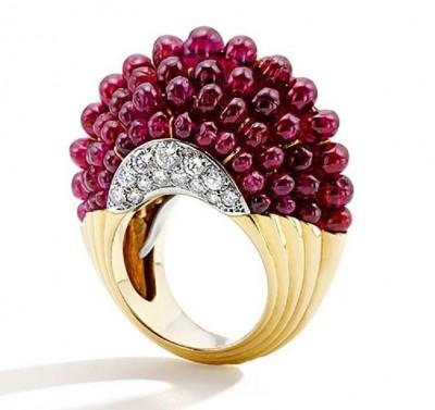 CARTIER-BAGUE BOULE-rubis-diamants