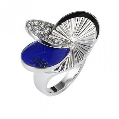 CARTIER-Bague Paris Nouvelle Vague or blanc, diamants, lapis, laque noire
