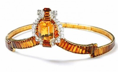 CARTIER-Citrine and Diamond Tiara made for the coronation of George VI in 1937