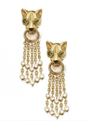 CARTIER-Pair-of-18-Karat-Gold-Diamond-and-Emerald-Panthère-Pendant-Earclip