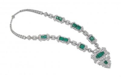 CARTIER-art deco sautoir emeralds-diamonds