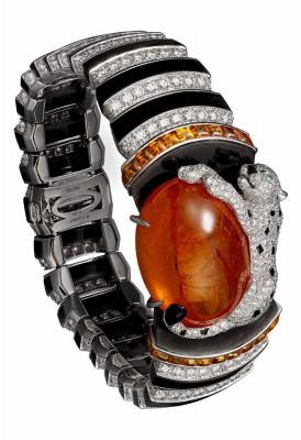 CARTIER bracelet Platinum-63.55-carat cabochon-spessartite garnet-garnets- onyx-obsidian-emerald-