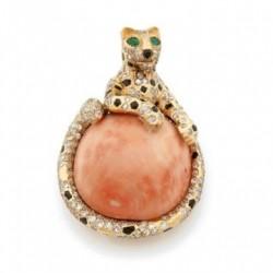 CARTIER- multi gem and diamond panther brooch circa 1960