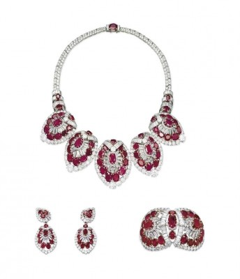 CARTIER-set of exceptional rubies and diamonds jewellery