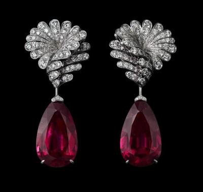 COLLECTION  L'ODYSSÉE DE CARTIER PARCOURS D'UN STYLE, boucle d'oreille en platine, rubellites, saphirs roses et diamants, CARTIER