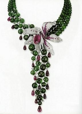 CARTIER-Collection Caresse d'orchidées, collier-diamants-rubis-rubellite-émeraudes