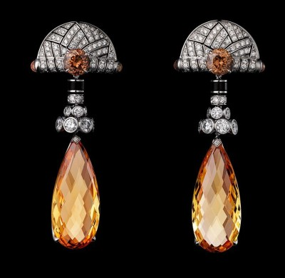 CARTIER-Collection Influence Africaine, Boucles d'oreilles-platine-Topaze Impériale-diamants