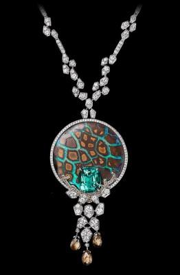 CARTIER-Collection L'Odyssée de Cartier-platine-émeraudes-opales-diamants bruns-diamants blancs