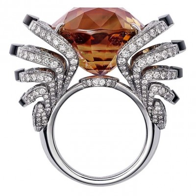 CARTIER-Collection L'Odyssée de Cartier- Parcours d'un Style-bague-or blanc-tourmaline-obsidienne-diamants