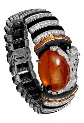 CARTIER-Collection Panthère-bracelet-platine-grenat spessartite 63.55-ct-onyx, obsidienne-émeraudes-diamants
