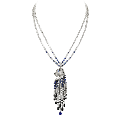 CARTIER-Collection Panthère-collier-platine-onyx-saphirs-diamants