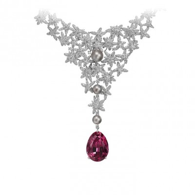 CARTIER-Collier Pamir-or blanc-spinel  49.74ct-perles-diamants