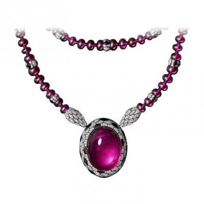 CARTIER-Collier- broche Haute Joaillerie-Rubellite-onyx-émeraude-diamants