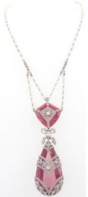 Collier francais-belle epoque-perles-diamands-topaze rose-circa 1910