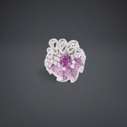 DIOR-Bague-collection Archi Cocotte-Saphir rose-diamant violet