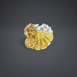 DIOR-Collection Archi-bague Envol drapé-diamant jaune-or jaune-platine-diamants-diamant jaune-diamant orange