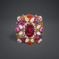 DIOR-Collection dear-bague Guipure framboise brodée