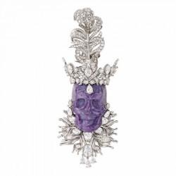 DIOR-Pendentif Roi de Charoïte-platine, or blanc, diamants, charoite