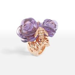 DIOR-bague rose-pré catélan-or rose-améthyste-diamants