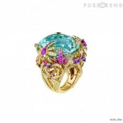 DIOR-collection-Incroyables et Merveilleuses-libellule-or jaune-diamants-aigue-marine-améthystes-saphirs roses