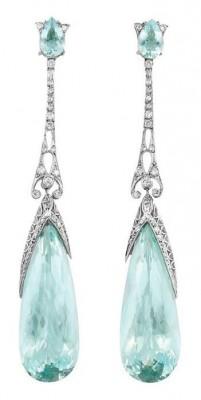 #Earrings #Diamonds #Aquamarine