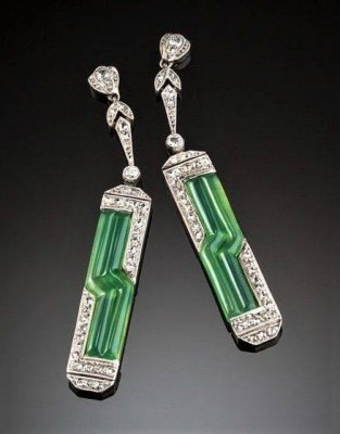 #Earrings #Diamonds #Chrysoprase #ArtDeco