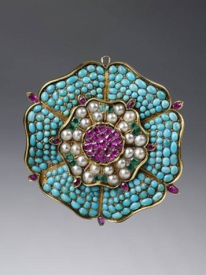 #English #Brooch #Turquoises #Rubies #Emeralds #Pearls #Circa 1835