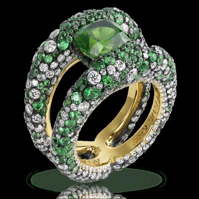FABERGE-Bague Charmeuse Verte, Démantoide, pavage tsavorite et diamants