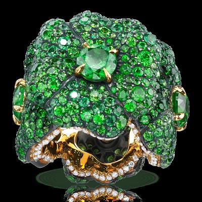 FABERGE-Bague Clover-grenats démantoides-diamants