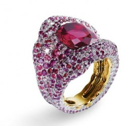 FABERGE-Bague Vagabonde- or rose-spinelle  8.52 ct-diamants-saphirs