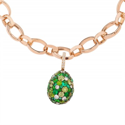 FABERGE-Charme vert émotion- diamants-tsavorite-grenat démantoide-péridot