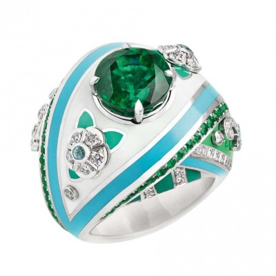 FABERGE-Collection Summer in Provence-bague-emeraude-diamants-email,