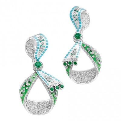 FABERGE-Collection Summer in Provence-boucles d'oreilles- emeraudes-diamants-émail