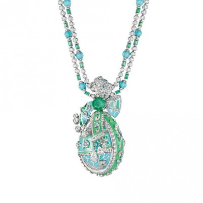 FABERGE-Collection Summer in Provence-collier-emeraude-turquoises-diamants