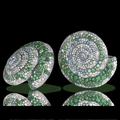 FABERGE-Collection fable de Fabergé-boucles d'oreilles Sea Tsarina-diamants-aigue marine-grenat demantoide-tsavorite-tourmalines,-sphenes-pierre de lune