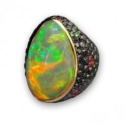 FABRE opale-diamants noirs-spinelles-tsavorites-saphirs oranges