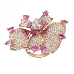 FEI LIU-Bague Orchid-collection Bespoke-tourmaline-diamants-saphirs-or rose