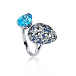 FEI LIU-Bague Whispering-Or noir-topaze-diamants-saphirs