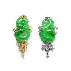 FEI LIU-Boucles d'oreilles Cloud and Wind-collection  Bespoke-jadeite gravée-diamants-saphirs-améthystes-grenat demantoides